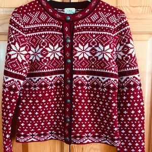 LL Bean Women's Wool Snowflake Cardigan Sweater XS